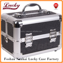2-Tiers Makeup Train Aluminum Travel Carry Case cosmetic case- BLACK