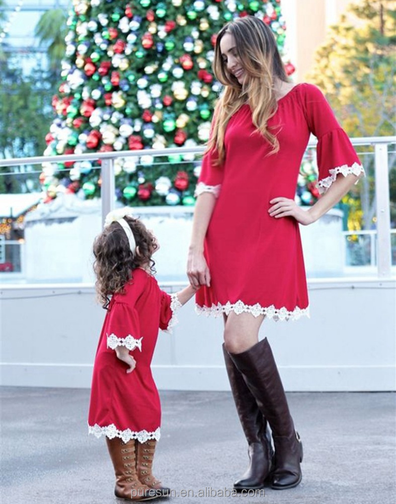 red blank mommy and me matching clothing cute christmas dresses