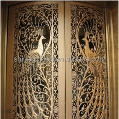 GYD-15G0221 peacock shows decorative laser cut wrought iron main gate designs