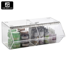 2 Compartments Clear Acrylic Display Bulk Food Bin w Lift-Open Door