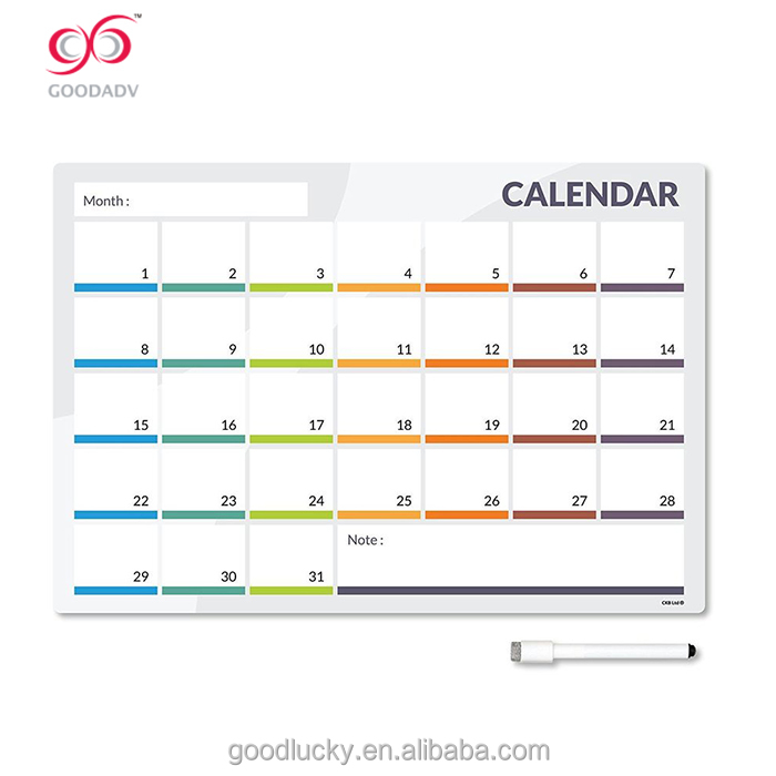 Factory Directly Custom Flexible Magnet Dry Erase Calendar Board