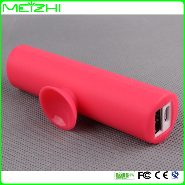 2600mah sucker cover mobile stand slim power bank holder