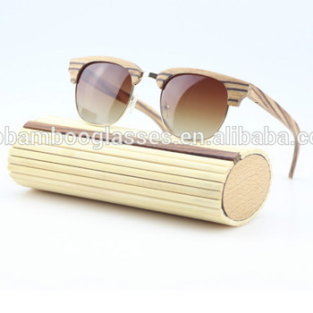 Half frame master zebra wood sunglasses without butterfly