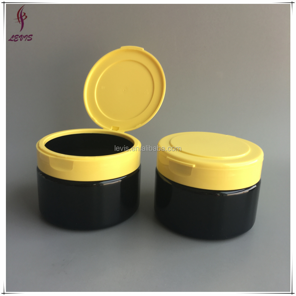 250g round black hair care cream plastic jars flip top lids