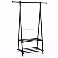 Black Metal Coat Rack 2-tier Garment Drying Rack Entryway Organizer