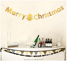 Merry Christmas Letter Paper Garland Banner for Christmas Decoration
