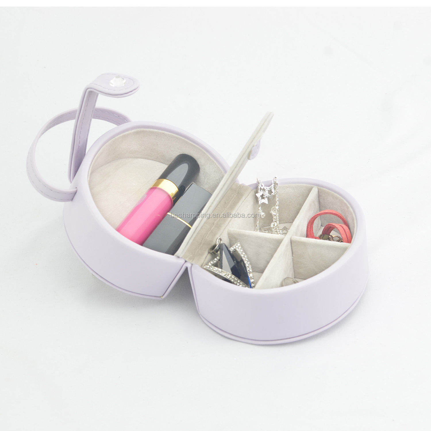 Custom Logo Handicraft PU Leather Jewelry Storage Case Small Mini Makeup Cosmetic Organizer Bag for Party