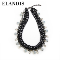 E-ELANDIS Fashion crystal necklace 2015,black metal jewellery,black choker necklace