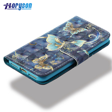 Wallet Cover 3D Colored Pattern PU Leather Protector Cell Phone Case for iPhone 7 / 8
