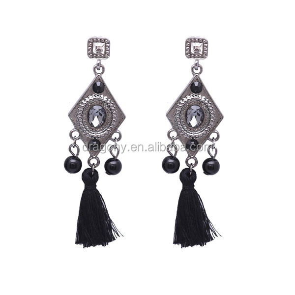 50% discount promotion EU fashion jewelry alloy diamond Bohemia style tassel earring
