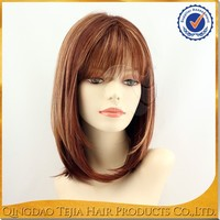 Top fashion hot sale bob style heat resistant synthetic lace front red highlights wig