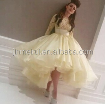 Special Occasion Celebrity puffy prom dress Myriam Fares gown High Neck Long Sleeve Lace Short Front Long Back Prom Dresses