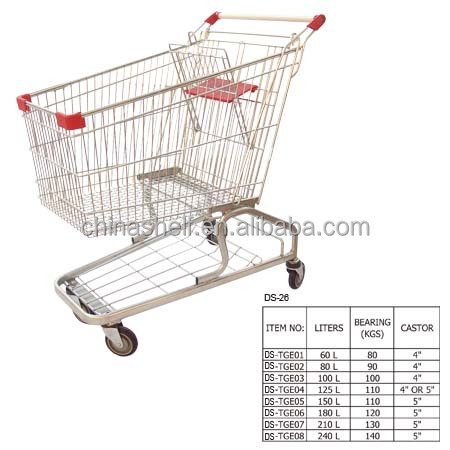 100L littre Euro style grocy supermarket four wheel shopping trolley