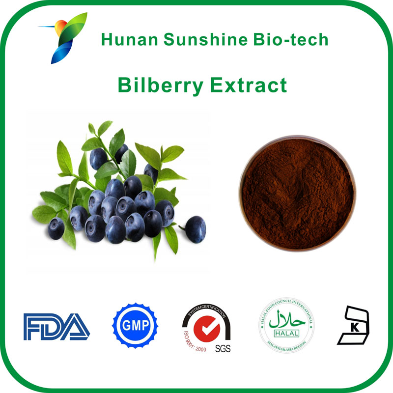 Vaccinium myrtillus L. . 25% anthocyanin cyanidin bilberry extract powder