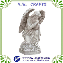 Religious craft plastic white engraving praying basilica angel figurine statue