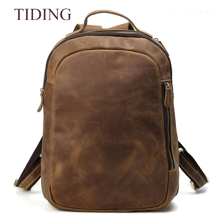 Tiding Hot Sale Men Brown Cow leather backpack genuine leather Travel backpack laptop bag