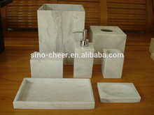 Hot sale natural stone hotel white marble bathroom set
