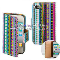 for black iphone 4 luxurious aztec leather case (horizontal open)