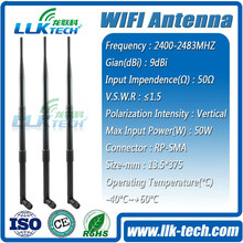 Hot sales omni wifi antenna 9dbi with RP SAM/TNC connector for Router