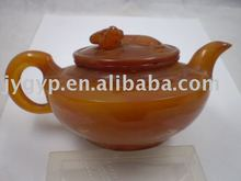 orange color resinous tea pot, antique tea pots