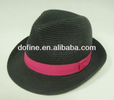 Black color paper straw fedora hat with neon pink ribbon