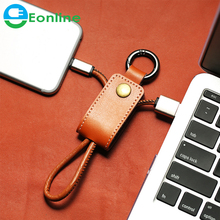 USB Cable Fast Charging Leather Keychain Data Charger Cable For iPhone 6 7 8Plus For iPad Air Micro USB For Samsung S6 Androi