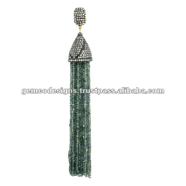 Natural Multi Sapphire Beads Tassel Pendant Jewelry, Genuine Diamond Gold Dangling Pendant Jewelry, Beads Pendant Necklace