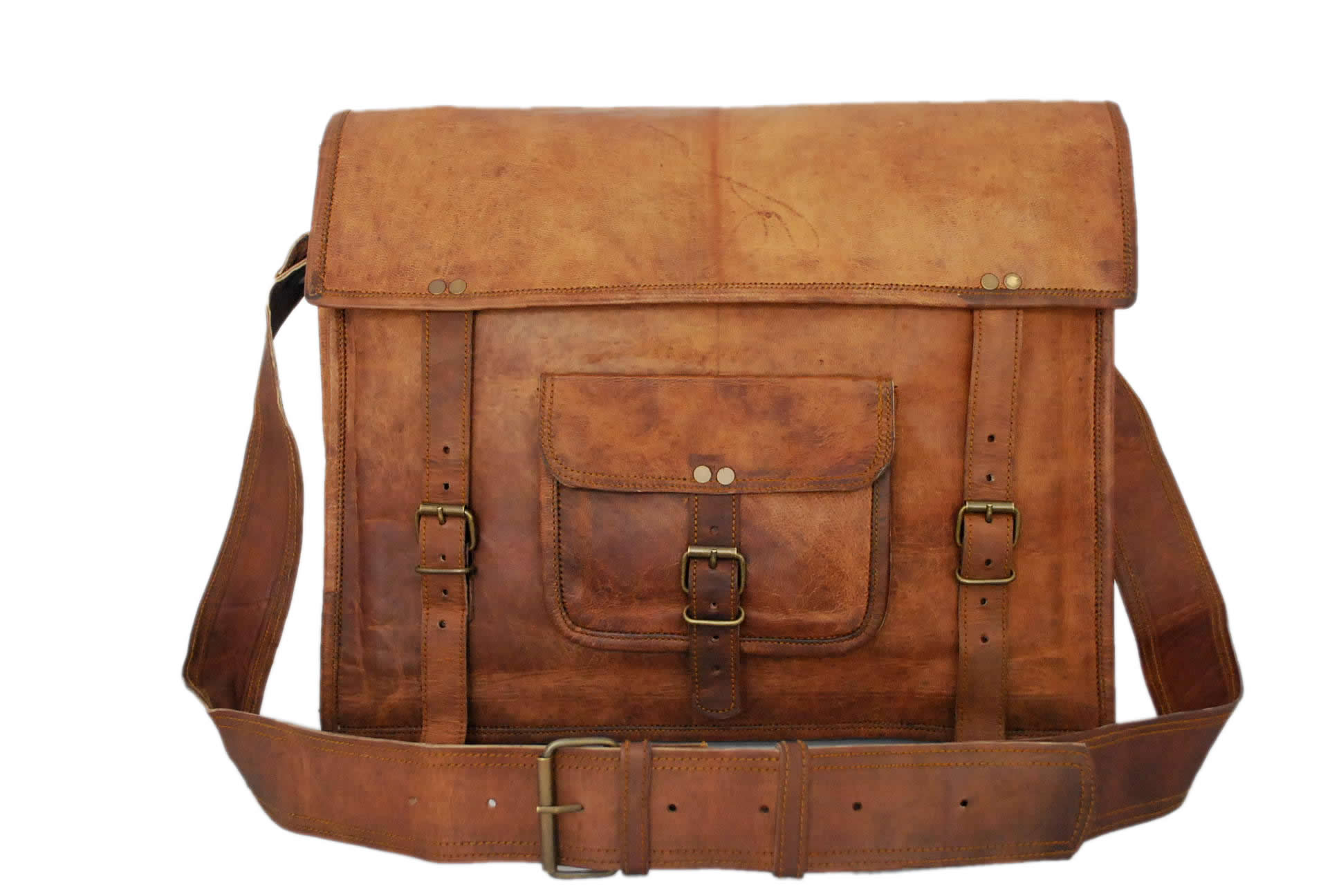 "vintage Leather Business Bags & Cases Laptop Bag 17""Satchel Leather Briefcase"