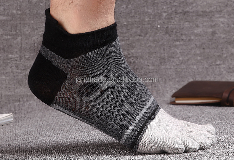 Fashion Breathable cotton Five Toe Socks Men Antibacterial deodorant tube Socks