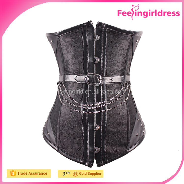 Cheap Black Jaquard Steampunk Corsets 14 Steel Boned Corset Busk With Chains