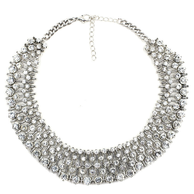 Alibaba Full Paved Diamond Moon Shaped Gold Choker Silver Chain Necklace
