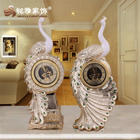 Home decoration figure polyresin crafts peacock with clock table decorative resin statue