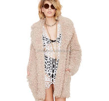 Z51532B Women Winter Boy Friend Style Faux Fur Coats Fashion Plush Over Coat for Wholesale