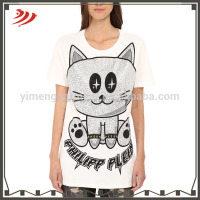 Wholesale ladies sleep printed t-shirt picture print