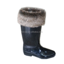 warm winter PVC boots with fur,customized working boots women,durable outdoor plastic boots