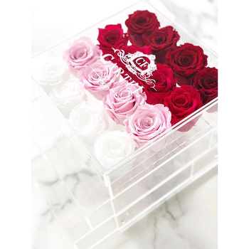 Competitive Wholesale Customized Acrylic Preserved Rose Gift Flower Box with Lid