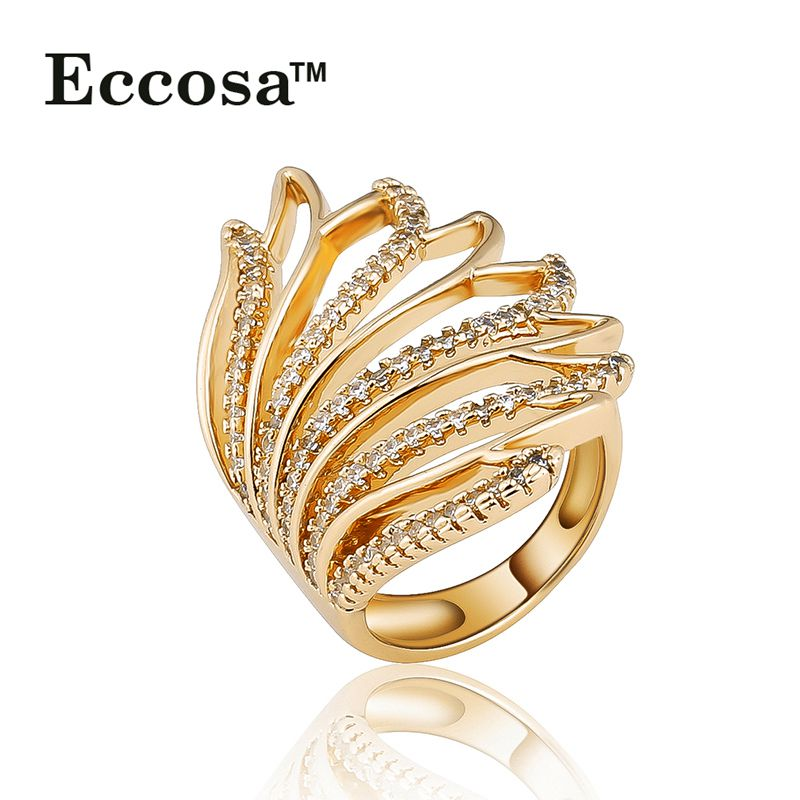 ECCOSA 2016 Latest Gold Finger Ring Designs Leaf Ring with Diamond