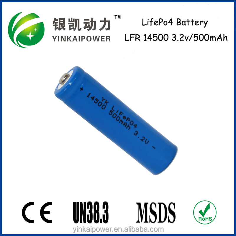 3.2v 500mAh IFR 14500 lifepo4 Battery Cell rechargeable LifePo4 battery/Battery pack