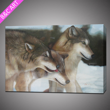 new art minds animals a wolves family vivid oil painting canvas art