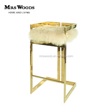 stainless steel base Mongolian lamb fur cushion bar stool