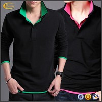 Ecoach OEM Wholesale Fitness Wear Pointed Collar Custom Embroidered Logo Slim Fit Cotton Men's long sleeve polo shirt