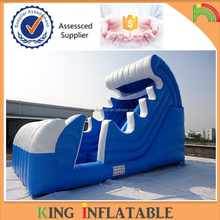 Ocean Curve Wave Slide Inflatable Wet Water Slide With Slip With Swimming Pool
