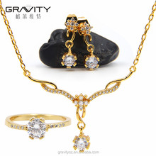 2017 latest design fashion 18k 24k saudi gold plated wedding handmade necklace jewelry set with earring/ring