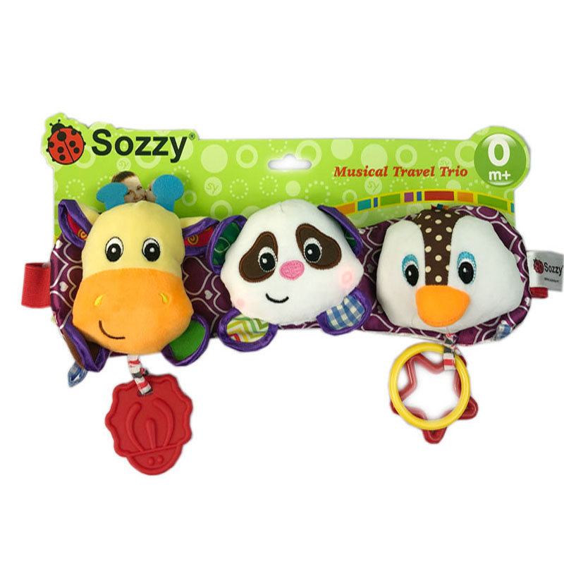Sozzy brand baby soft Giraffe music car hang plush stuff toy <strong>animal</strong>