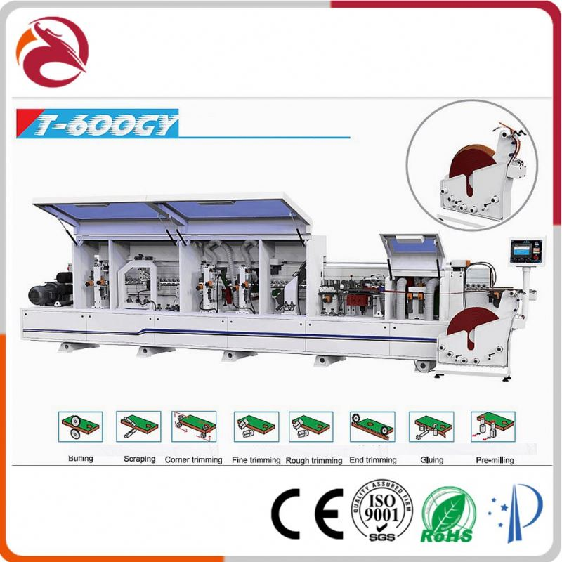 Semi automatic gluing/trimming/scrapping/buffing woodworking wood pvc edge banding machine