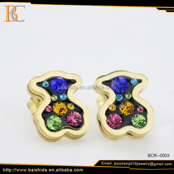 colourful fake diamond bear stud earrings jewelry wholesale china