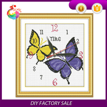 wholesale beautiful handmade cross stitch clock kits for home decoration