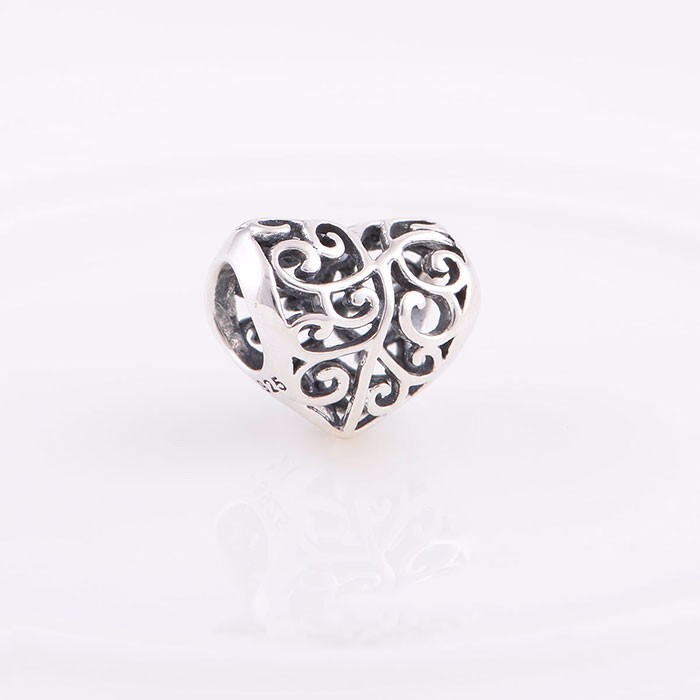 Opening Work Heart Shape Silver Beads 4.5m Hole Diameter Silver Beads For Bracelets 925 Silver Beads Jewellrty Making