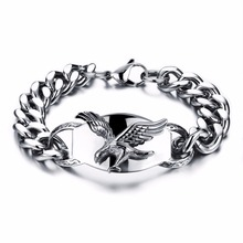 fashion jewelry 316L stainless steel bracelets and bangles for big wrist eagle free syria bracelet