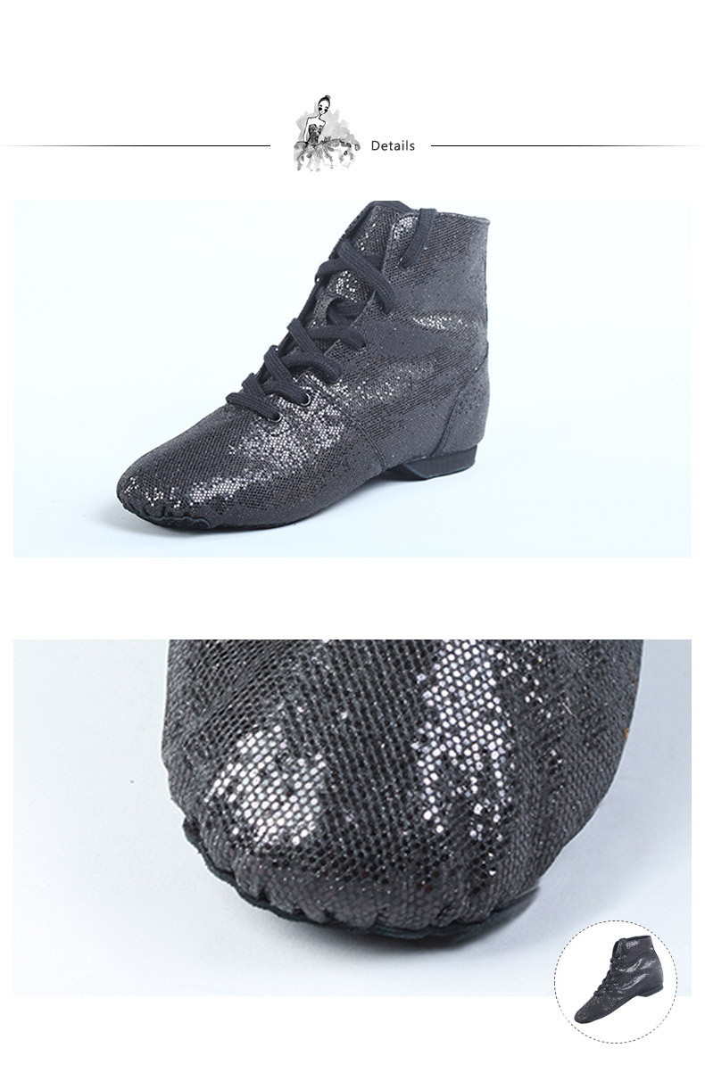 D011001 Dttrol Dance Black Lace Up Sequin Jazz Boot